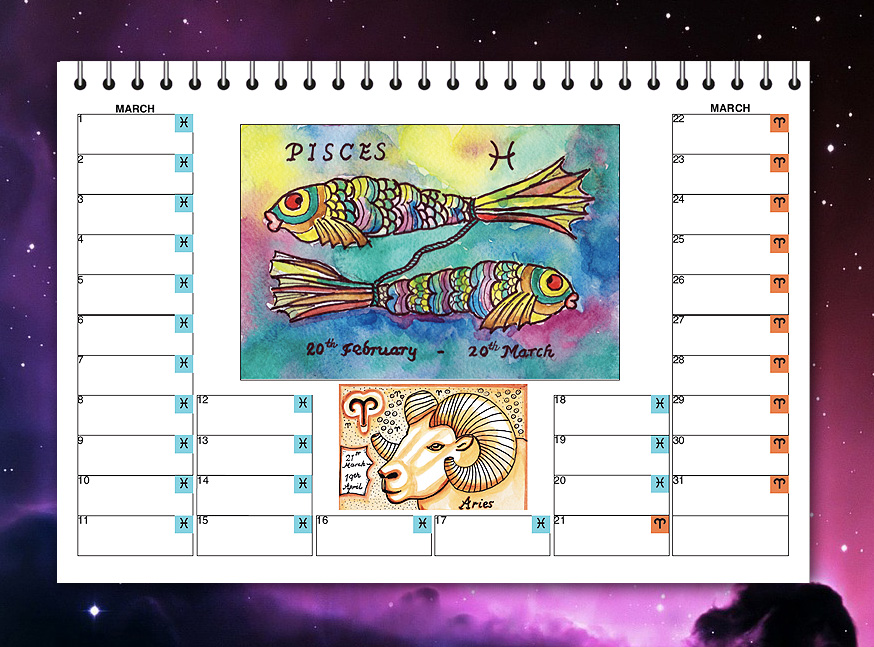 Zodiac birthday calendar - Inner Page (Pisces/Aries)